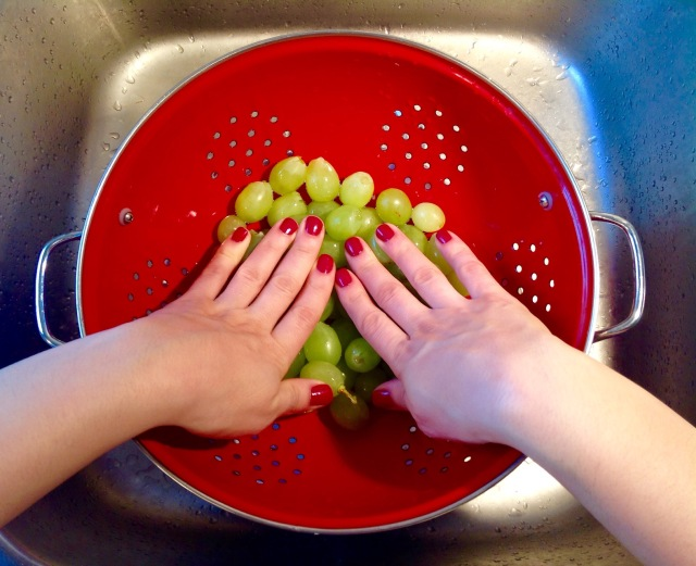 Grape stomping...with your hands!