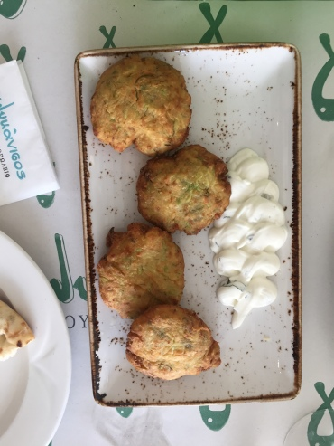 fried zucchini balls with tatziki